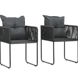 vidaXL Tuinstoelen 51,5x51,5x67 cm poly rattan zwart 2 st