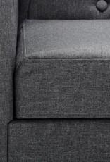 vidaXL Bank Chesterfield-stijl L-vormig stof donkergrijs