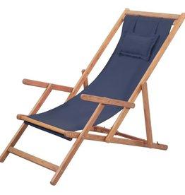 vidaXL Strandstoel inklapbaar stof blauw