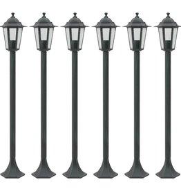vidaXL Paalverlichting voor tuin E27 110 cm aluminium donkergroen 6 st