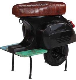 vidaXL Barkruk scooter echt leer massief gerecycled hout zwart