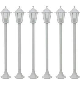 vidaXL Paalverlichting voor tuin E27 110 cm aluminium wit 6 st