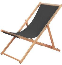 vidaXL Strandstoel inklapbaar stof grijs