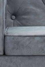 vidaXL Bankstel Chesterfield-stijl stoffen bekleding grijs 3-delig