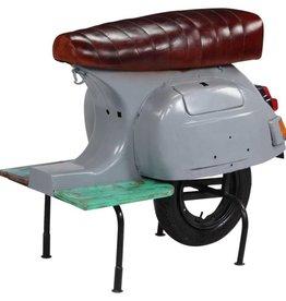 vidaXL Barkruk scooter echt leer massief gerecycled hout grijs