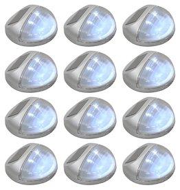vidaXL LED-wandlampen solar rond zilver 12 st