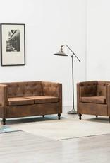 vidaXL Bankstel Chesterfield-stijl suède-look stoffen bekleding bruin 2-delig