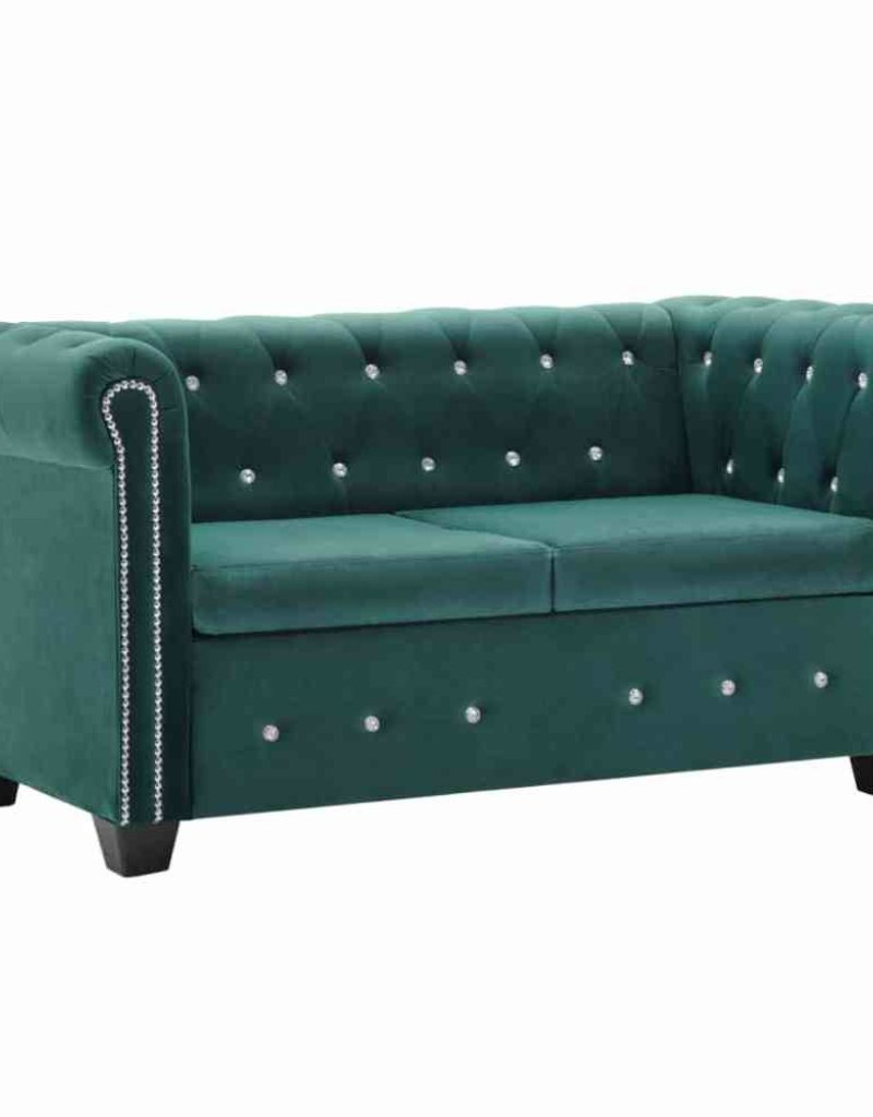 vidaXL Bankstel Chesterfield-stijl fluwelen bekleding groen 2-delig