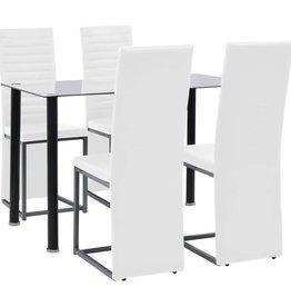 vidaXL Eetkamerset staal en gehard glas zwart en wit 5-delig