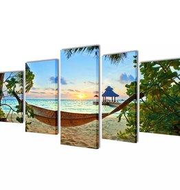 vidaXL Canvasdoeken zandstrand met hangmat 100 x 50 cm