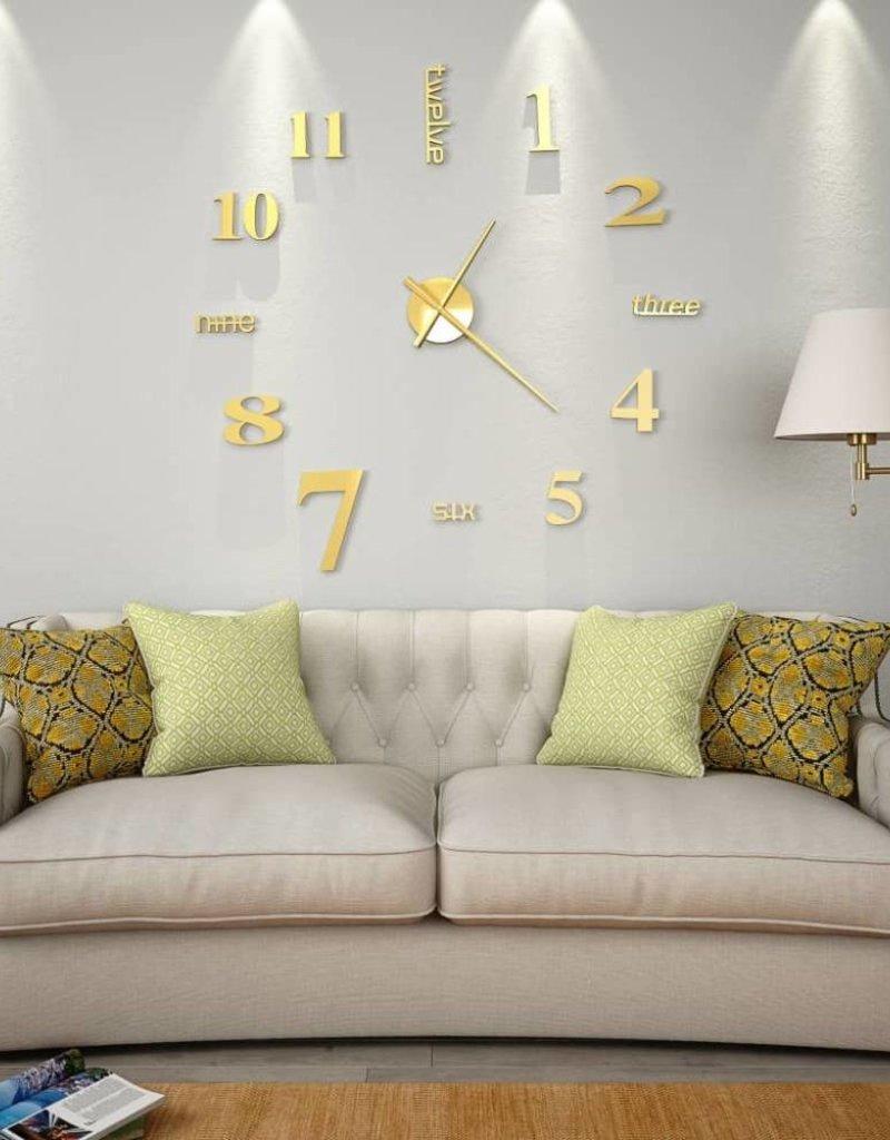 vidaXL 3D-wandklok 100 cm XXL modern goudkleurig