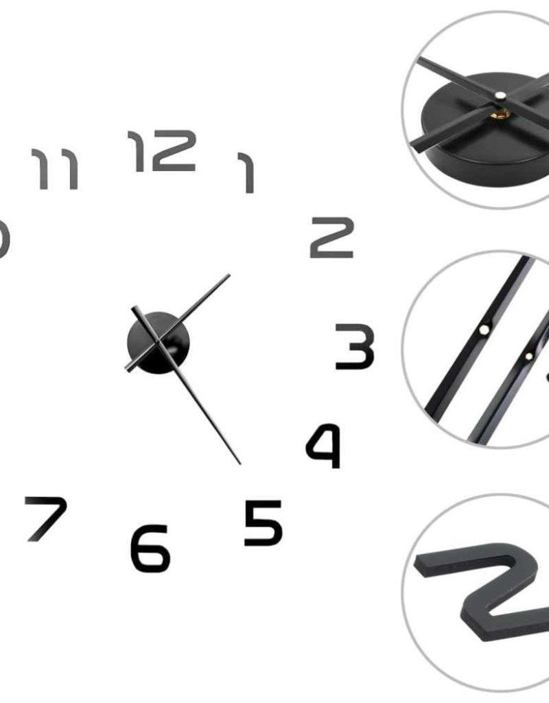 vidaXL 3D-wandklok 100 cm XXL modern zwart