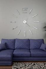 vidaXL 3D-wandklok 100 cm XXL modern zilverkleurig