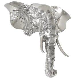 vidaXL Olifantenkop beeld 38x19x36 cm massief aluminium zilver