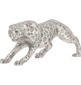 vidaXL Jachtluipaard beeld 50x10x14 cm massief aluminium zilver