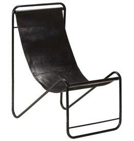 vidaXL Relaxstoel 50x78x90 cm echt leer zwart