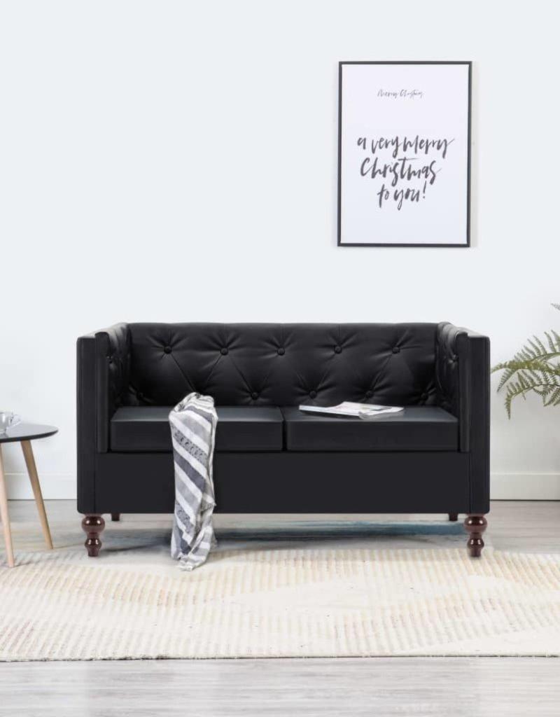 vidaXL Tweezitsbank Chesterfield-stijl kunstleren bekleding zwart