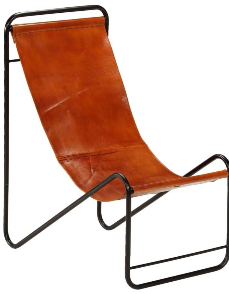 vidaXL Relaxstoel 50x78x90 cm echt leer bruin
