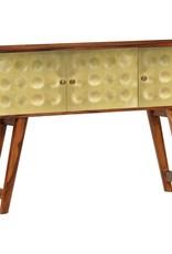 vidaXL Dressoir 120x30x80 cm massief sheeshamhout met gouden print