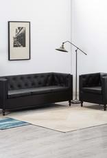 vidaXL Bankstel 2-delig kunstleren bekleding zwart