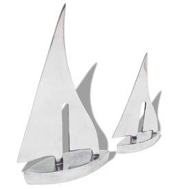 vidaXL Zeilboot decoratie 2 stuks zilver aluminium
