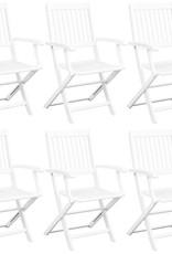 vidaXL 7-delig Tuinset massief acaciahout wit