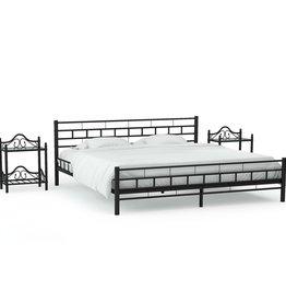 vidaXL Bedframe met twee nachtkastjes metaal zwart 160x200 cm