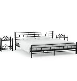 vidaXL Bedframe met twee nachtkastjes metaal zwart 140x200 cm