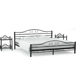 vidaXL Bedframe met twee nachtkastjes metaal zwart 180x200 cm