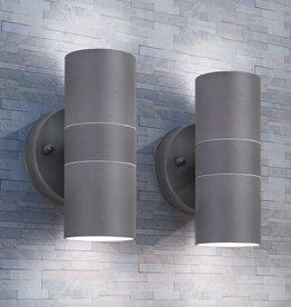 vidaXL LED-wandlamp buiten op-/neerwaarts RVS 2 st