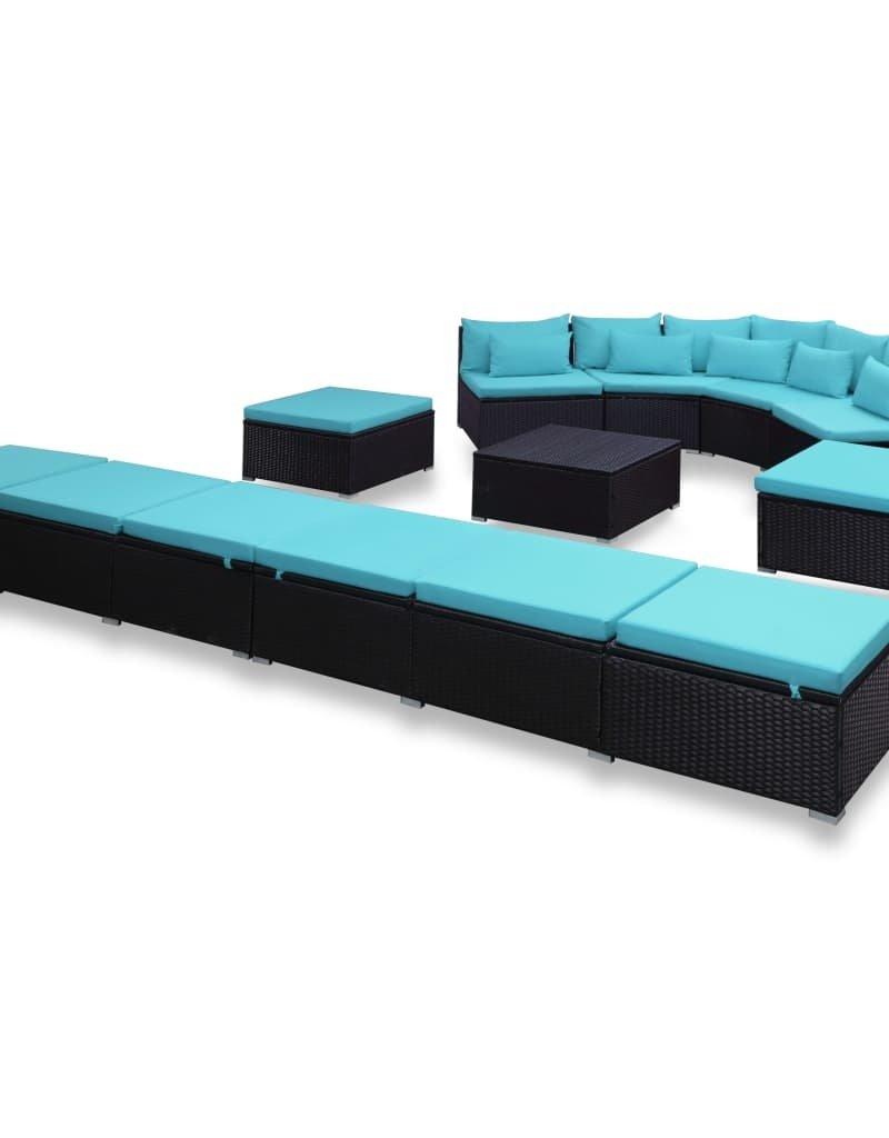vidaXL 9-delige Loungeset met kussens poly rattan blauw