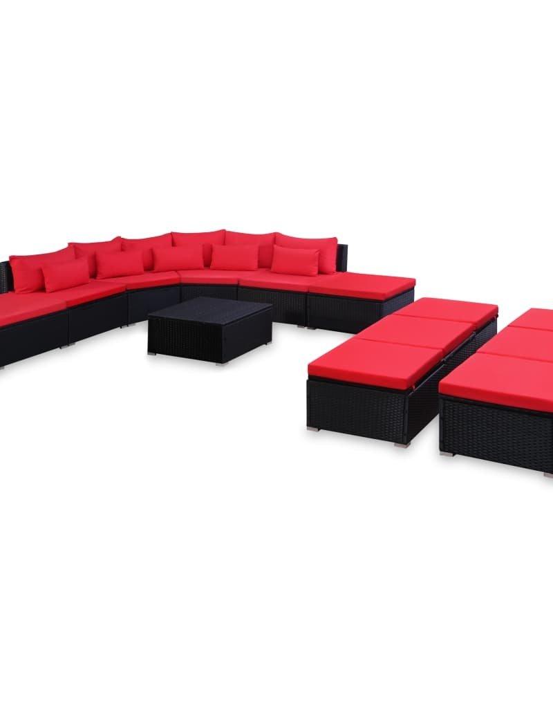 vidaXL 9-delige Loungeset met kussens poly rattan rood