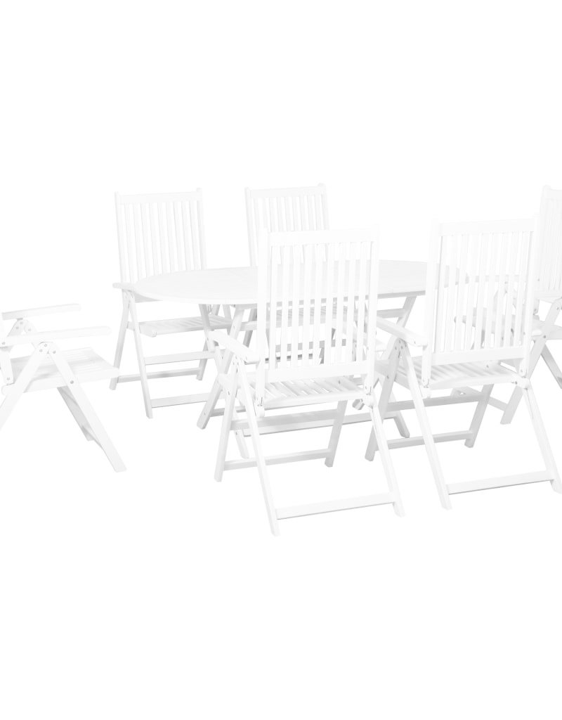 vidaXL 7-delige Tuinset massief acaciahout wit