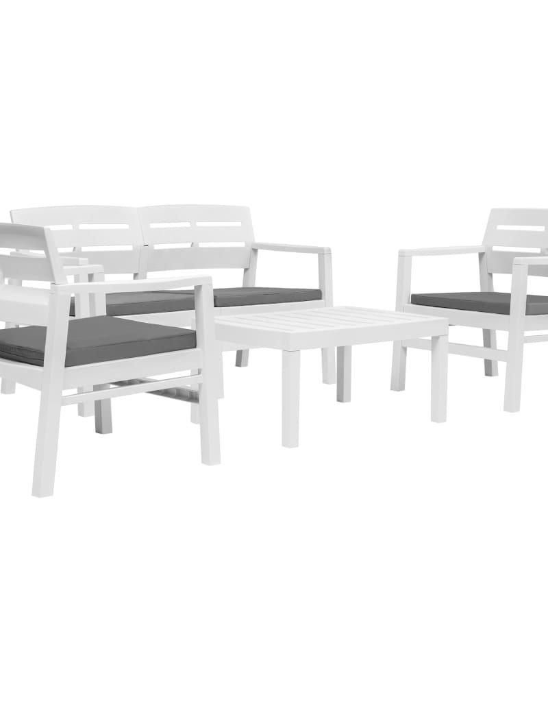 vidaXL 4-delige Loungeset kunststof wit