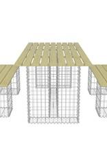 vidaXL 3-delige Gabion tuinset gegalvaniseerd staal en FSC grenenhout