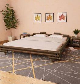vidaXL Bed met 2 nachtkastjes bamboe donkerbruin 180x200 cm