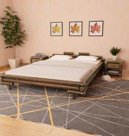 vidaXL Bed met 2 nachtkastjes bamboe donkerbruin 160x200 cm