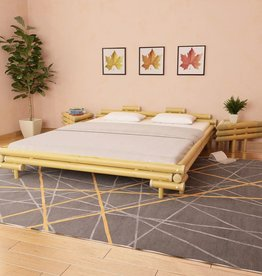 vidaXL Bed met 2 nachtkastjes bamboe natuurlijk 180x200 cm