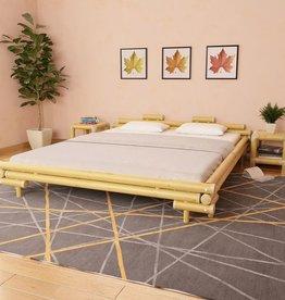 vidaXL Bedframe met 2 nachtkastjes bamboe naturel 180x200 cm
