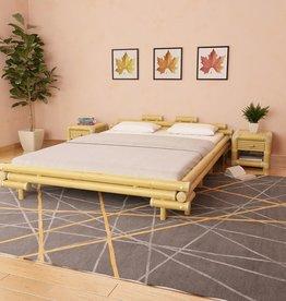 vidaXL Bed met 2 nachtkastjes bamboe natuurlijk 160x200 cm