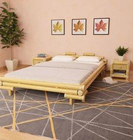vidaXL Bed met 2 nachtkastjes bamboe natuurlijk 140x200 cm