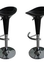 vidaXL 2 Barkrukken met voorgevormde zitting zwart