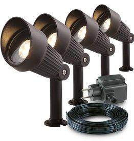 Garden Lights Tuin spotlights Focus aluminium 4 st 3151014