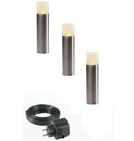 Garden Lights LED-lichtpaaltjes 3 stuks eiken roestvrij staal 4122603