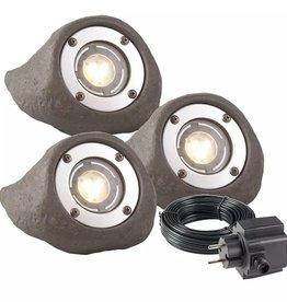 Garden Lights LED spotlampen Lapis 3-delig grijs kunsthars 3577443