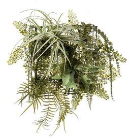 Emerald Kunstplant varen/tillandsia mix op ijzeren rek 420223