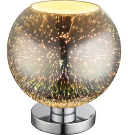 GLOBO 3D Effect tafellamp KOBY glas chroom 25x28 cm 15845T1