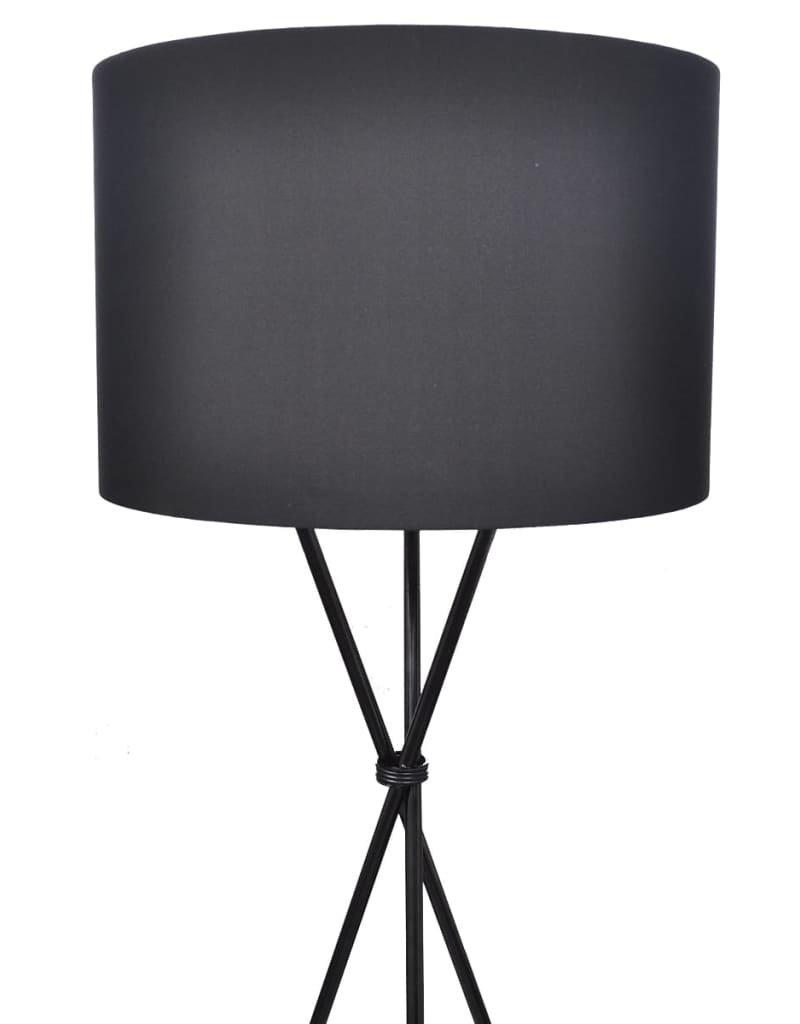 vidaXL Lampenkap voor vloerlamp met standaard 139 cm zwart