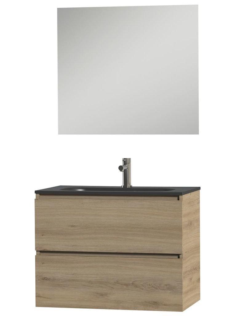 Tiger Badkamer meubelset Loft 80 cm eikenhout zwart 1644423200
