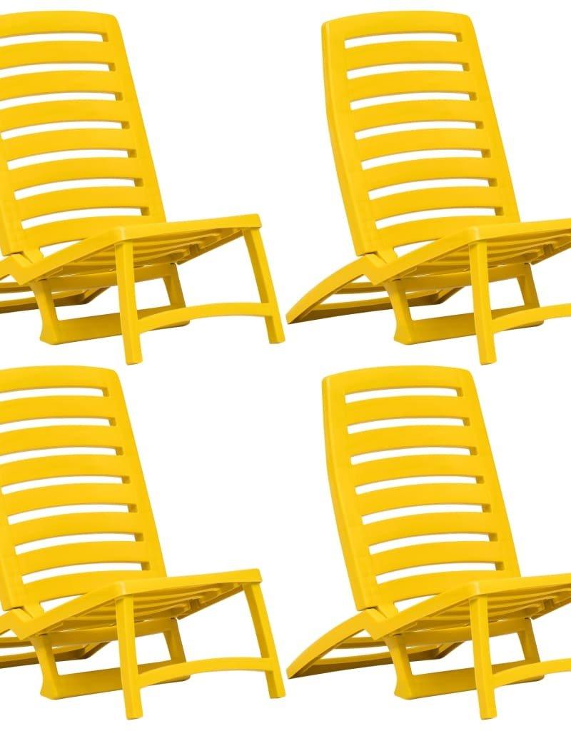 vidaXL Strandstoelen inklapbaar 4 st kunststof geel